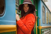 Girl in train — Stock Photo