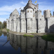 Gravensteen castle in Gand (Flanders - Belgium) reflects in the water. — Stock Photo