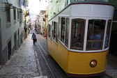 Yellow tram in the center of Lisbon, Portugal — Stock Photo
