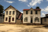 Old wooden houses in the JF Nassylaan in the center of Paramaribo,Suriname — Stock Photo