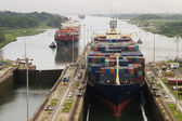 Cargo Ship in Panama Canal — Stock Photo