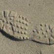Shoe Tread In Sand — Stock Photo