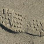 Shoe Tread In Sand — Stock Photo