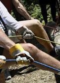 Working Hands On Belay — Stock Photo