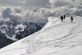 Ice Cornice Exploration — Stock Photo