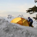 Boy And Tent On Mt. Rainier — Stock Photo