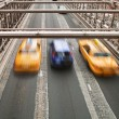 Stock Photo: Taxis on Brooklyn Bridge