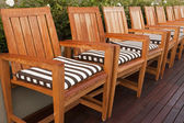 Wooden Chairs On Deck — Stock Photo