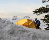 Boy And Tent On Mt. Rainier — Stock Photo