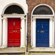 Red and Blue Doors — Stockfoto
