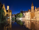 Bruges Canal At Night — Stock Photo