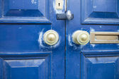 Blue Door, Bronze Doorknob — Stock Photo