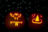 Two Carved Pumpkins — Stock Photo