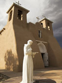 Saint Francis Statue With Church — Stock Photo