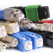 Fiber optic connectors colors — Stock Photo