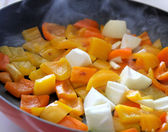 Peppers And Onions Cooking In Skillet — Stock Photo