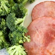 Lean Roasted Ham With Fresh Broccoli — Stock Photo