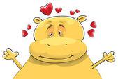 Happy Hippopotamus in Love — Stock Vector