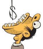Man greedy for money — Stock Vector