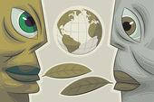 Two Faces. Environmental dialogue — Stock Vector