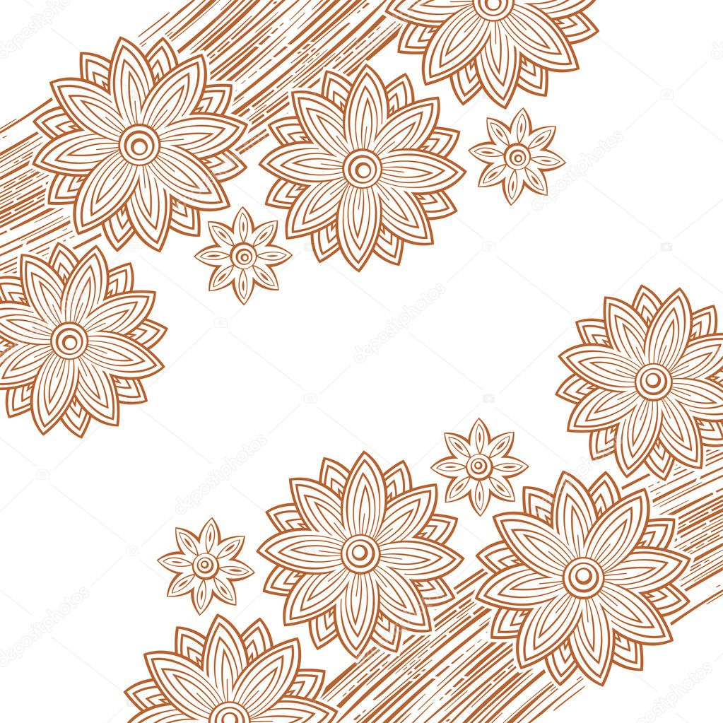 Flower ornament made out of lines — Grafika wektorowa #7669916