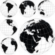 Black and white vector earth globes — 图库矢量图片