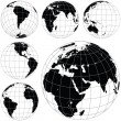 Black and white vector earth globes — Stock Vector