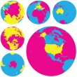 Vector illustration of Globes. — Stock Vector