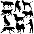 Vector Dog Silhouettes — Stock Vector