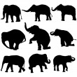 Vector elephant silhouettes - Stock Vector