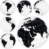 Black and white vector earth globes — Vecteur