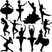 Vector Dancer Silhouettes — Stock Vector