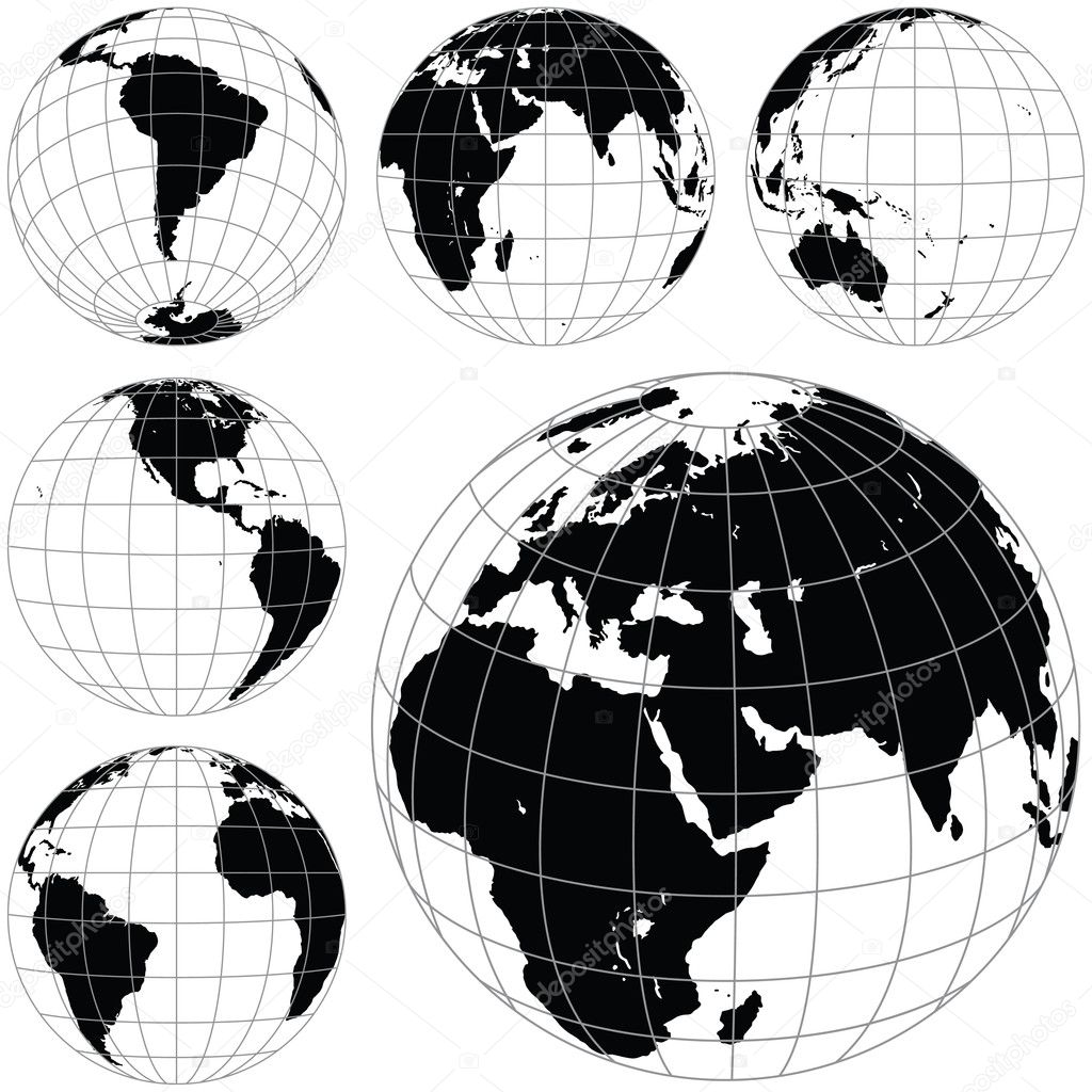 Black and white vector earth globes isolated on white background.  Stock Vector #7340868