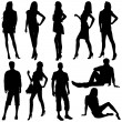 Model Silhouettes - Stock Vector