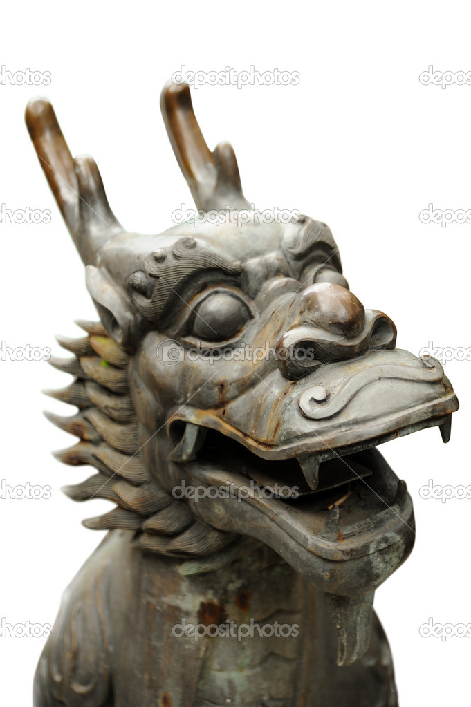 Chinese Dragon Sculpture isolated against white background. — Stock Photo #7430493