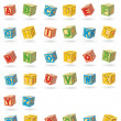 Stock Vector: Alphabet on a baby cubes