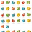 Stock Vector: Alphabet on baby cubes