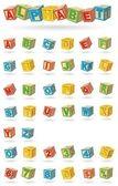 Alphabet on a baby cubes — Stock Vector