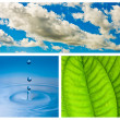 Environmental theme abstract background - gray clouds and blue s — Stock Photo