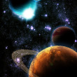 Abstract planet with sun flare in deep space - star nebula again — Stock Photo #7366965