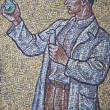 Mosaic with man in wall astronomical clock, Olomouc city - Czech — Stock Photo