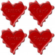 Valentine love hearts with names: Samuel, Mark, Jordan, Peter — Stock Photo