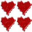 A, B, C, D Heart - red wax seal collection — Stock Photo #7367808