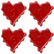 9, 0 heart - red wax seal collection — Stock Photo