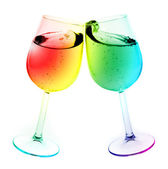 Isolated abstract colored wine glass with wine over a white back — Stock Photo