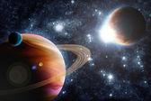 Streszczenie planety z pochodni słońce w przestrzeń kosmiczną - gwiazda mgławica ponownie — Zdjęcie stockowe