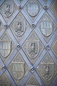 Close-up image of ancient iron metal door with ornament — Stock Photo