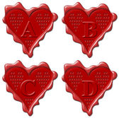 A, B, C, D Heart - red wax seal collection — Stock Photo