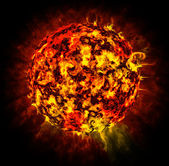 Abstract sun on black background, plasma ball — Stock Photo
