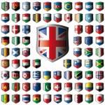 banderas escudo brillante con la colección de marco de metal - vector illustr — Vector de stock